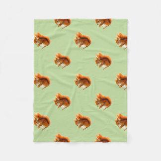 Red Squirrel Painted in Watercolor Wildlife Art Fleece Blanket