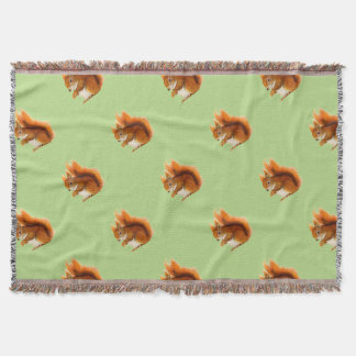 Red Squirrel Painted in Watercolor Wildlife Art Throw Blanket