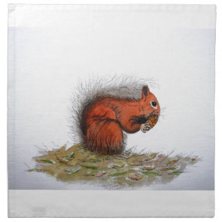 Red Squirrel pine cone Cloth Napkin