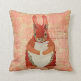 Red Squirrel Pink Pillow