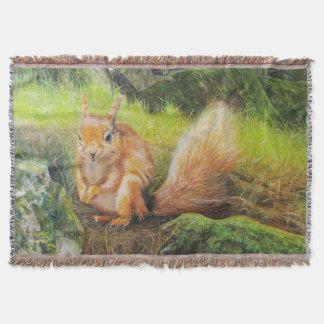 red squirrel under a pine tree art