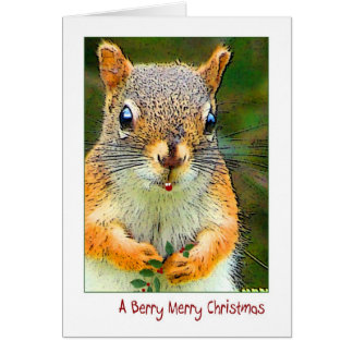 Red squirrel w Holly-BERRY MERRY CHRISTMAS Cards