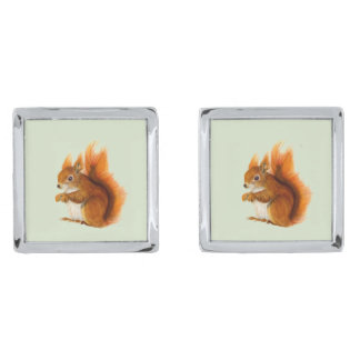 Red Squirrel Watercolor Painting Gifts and Bags Silver Finish Cuff Links