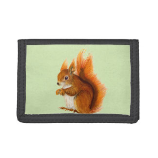 Red Squirrel Watercolor Painting Gifts and Bags Trifold Wallets