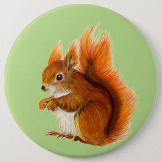 Red Squirrel Watercolor Painting Wildlife Artwork 6 Cm Round Badge