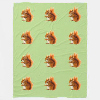 Red Squirrel Watercolor Painting Wildlife Artwork Fleece Blanket