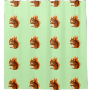 Red Squirrel Watercolor Painting Wildlife Artwork Shower Curtain