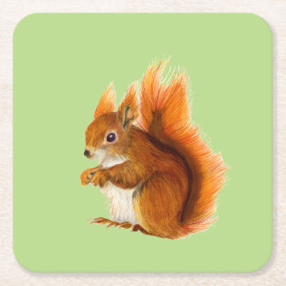 Red Squirrel Watercolor Painting Wildlife Artwork Square Paper Coaster