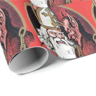 Red St Nicholas Krampus Wrapping Paper