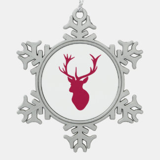 Red Stag Head Christmas or Stag Party Snowflake Pewter Christmas Ornament