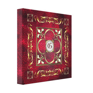 Red Stained Glass Monogram Fleur De Lis Canvas