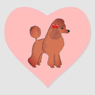 Red Standard Poodle Pink Heart Stickers
