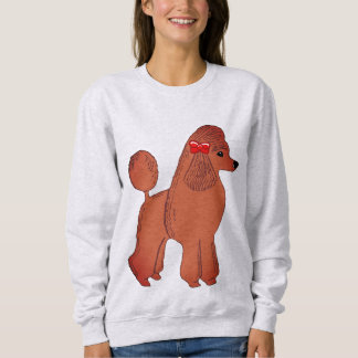 Red Standard Poodle with Bow Women's Sweatshirt