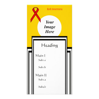 Red Standard Ribbon Template Customised Photo Card