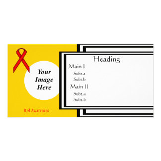 Red Standard Ribbon Template Personalized Photo Card