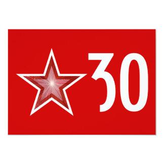 Red Star 'Age' birthday invitation red