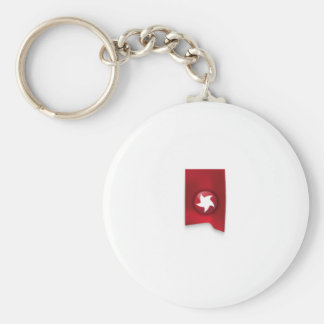 Red Star Banner Basic Round Button Key Ring