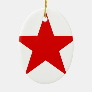 Red Star ★ Ceramic Oval Decoration