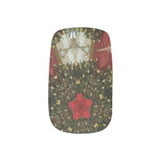 Red Star Christmas Tree Background Minx Nail Art