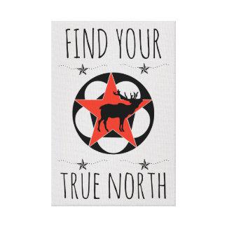 Red Star Elk True North Canvas Print