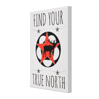 Red Star Elk True North Poster Canvas Print