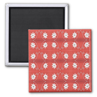 red star flowers square magnet