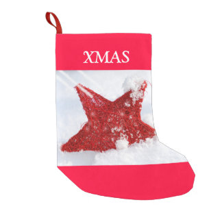 Red star in the snow small christmas stocking