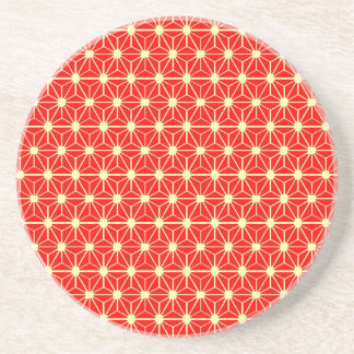 red star japanese pattern drink coasters