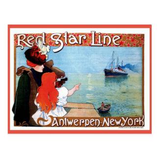 Red Star Line Antwerp-New York vintage ad Postcard