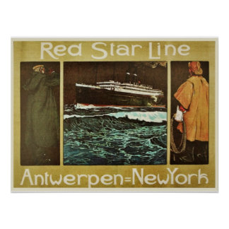Red Star Line Ocean Liner Litho Poster