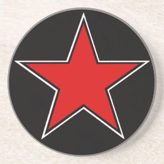 red star on black background coasters