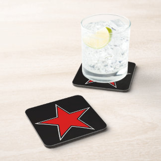 red star on black background drink coasters