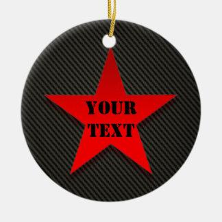 Red Star on Black Carbon Fiber Ceramic Ornament