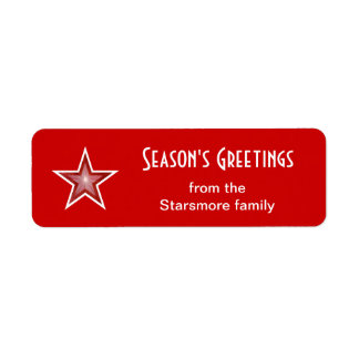 Red Star 'Season's Greetings' label small red Return Address Label
