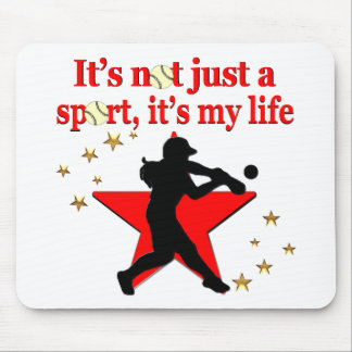RED STAR SOFTBALL IS MY LIFE DESIGN MOUSE PAD