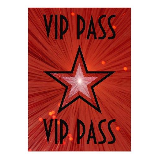 Red Star 'VIP PASS' invitation black