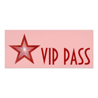"Red Star 'VIP PASS' invitation pink long 4"" X 9.25"" Invitation Card"