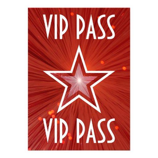 Red Star 'VIP PASS' invitation white