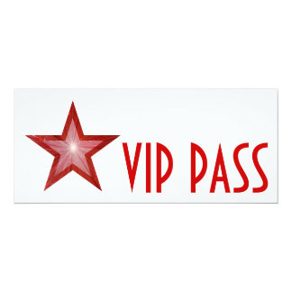 "Red Star 'VIP PASS' invitation white long 4"" X 9.25"" Invitation Card"