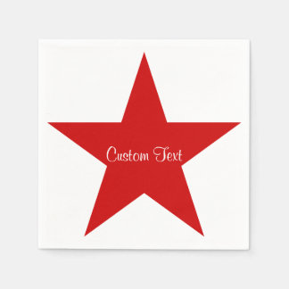 Red Star w/ Custom Text Disposable Serviettes