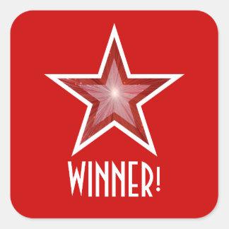 Red Star 'WINNER!' square sticker red