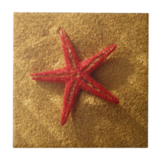 red starfish ceramic tile