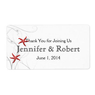 Red Starfish Silver Wedding Water Bottle Label Shipping Label