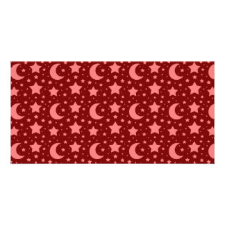 red stars and moon patterns personalised photo card