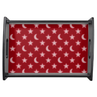 Red stars and moons pattern serving tray