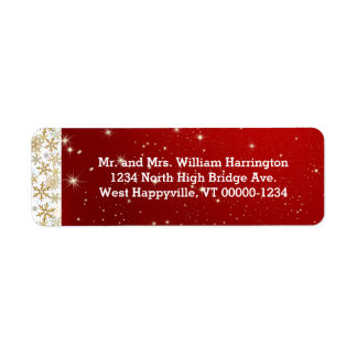 Red Stars and Snowflakes Return Address Labels