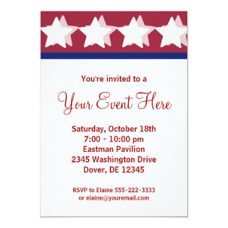 Red Stars Campaign Party Invitations