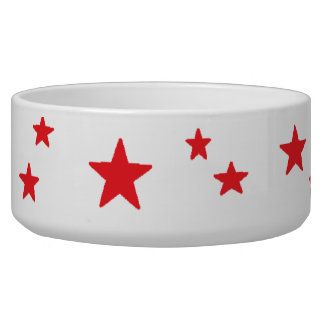 Red Stars Dog Food Bowls