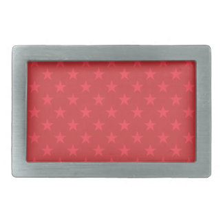 Red stars pattern rectangular belt buckle