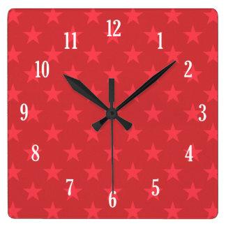 Red stars pattern square wall clock